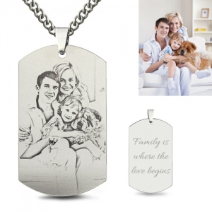 Titanium Steel Engraved Family Photo Necklace for Fathers