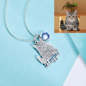 Personalized  Birthstone Pet Memorial Photo Necklace with Name
