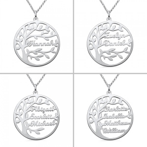 Personalized Family Tree Name Necklace in Silver
