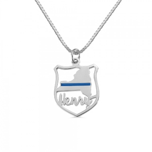 Personalized Police Badge State Map Name Necklace in Silver