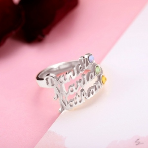 Personalized Multiple Name Ring in Silver